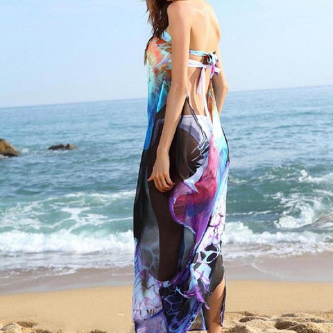 Floral Printed Lady Chiffon Beach Dress