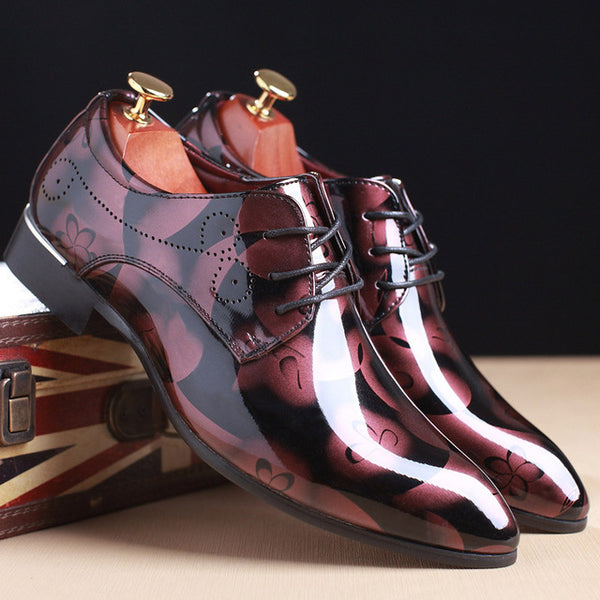 Floral Pattern Leather Luxury Men Shoes
