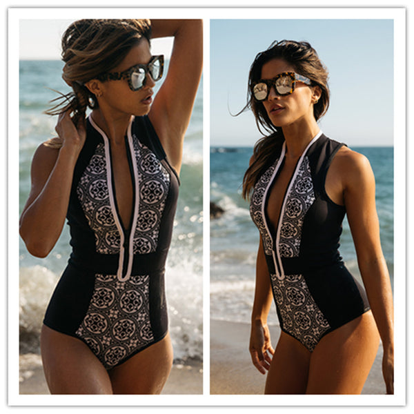 Black and White Floral Printed One-Piece Swimsuit
