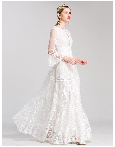 Long Sleeve Tulle Embroidery O-neck Floor Length Elegant Dress