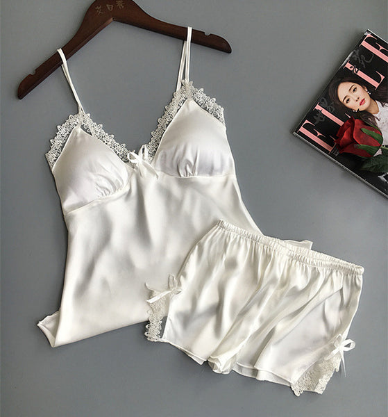 Cotton Two Piece Silk Pajamas Sexy Set