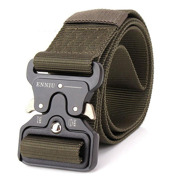 Metal Insert Buckle Military Belt