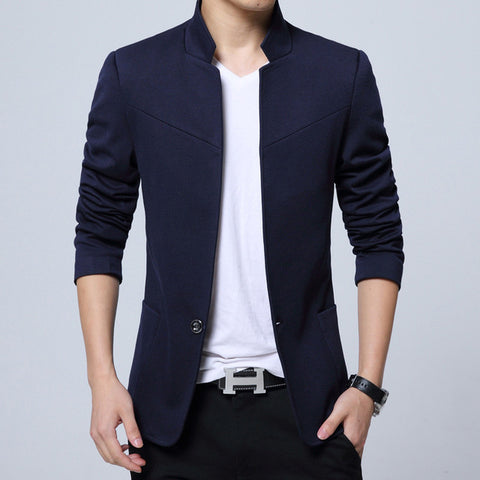 England Style Cotton Solid Full Blazer