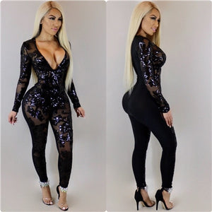 Sexy Deep V Neck Sheer Mesh Sequins Bandage Jumpsuits