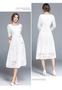 Vintage Elegant White Lace Dress