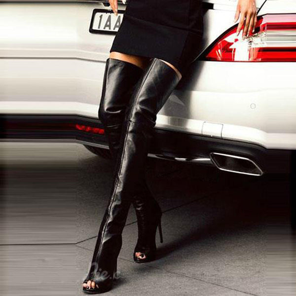 Open Toe Black Leather Thigh High Heel Boots