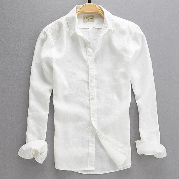 Linen Long Sleeve White Shirt