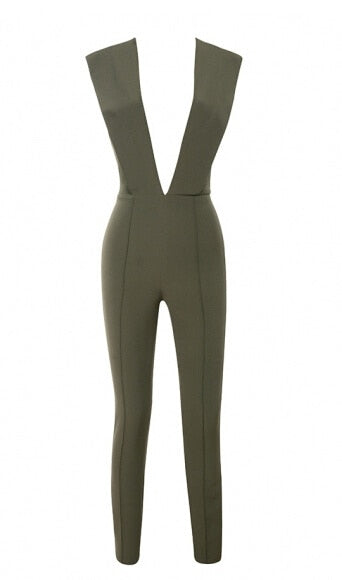 Deep v Neck Fitted Sexy Bodycon Jumpsuit