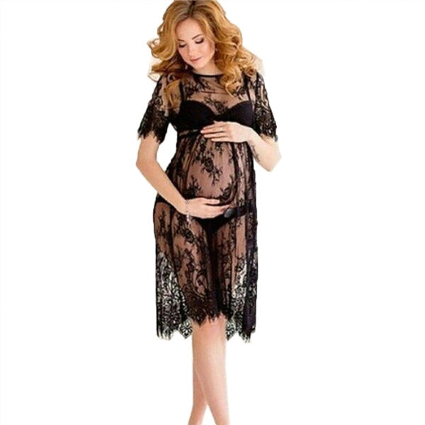 Black Long Lace Dress women Plus Size Short Sleeve O Neck Women Casual See Through Beach Wear Dresses XXXL