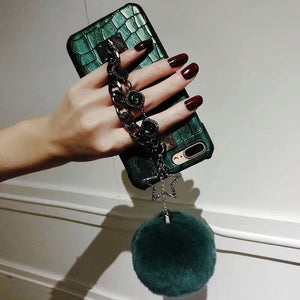 iPhone X Crocodile Skin Diamond Gem Bracelet Chain Tassel Fox Fur Ball