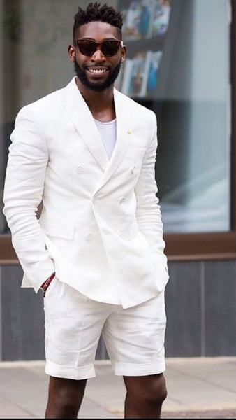 White Linen Slim Fit 2 Piece Suit