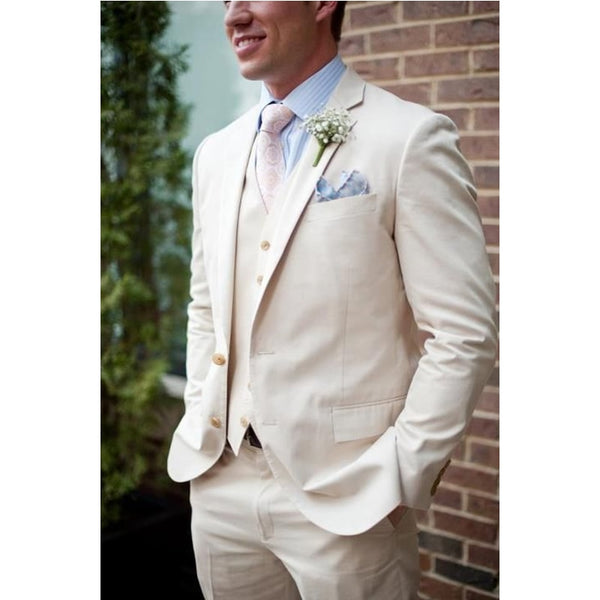 Linen Beach Slim Fit 3 Pieces Suits (Jacket+Pants+Vest)