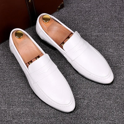Italia White Leather Loafers
