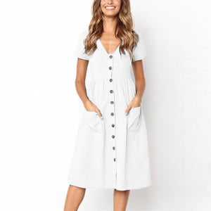 White Button Dress