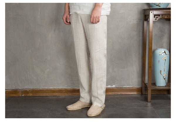 Cotton and Linen Breathable Drawstring Pants
