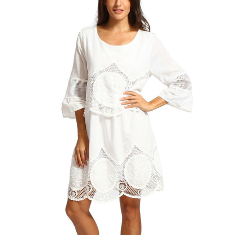Lace Dress Three Quarter O-Neck Mini Dress