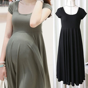 Summer Fashion O-neck Short Sleeve Pregnancy Dress