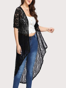 Plus Size Lace Loose Shawl Cardigan
