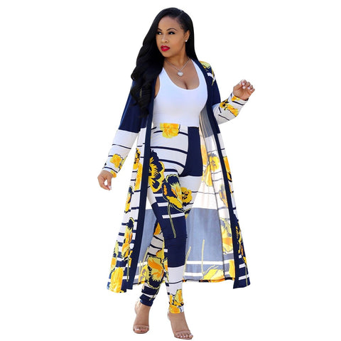2 Piece Long Cloak and Pants Set Casual Women's Clothes Fashion Street Outfits