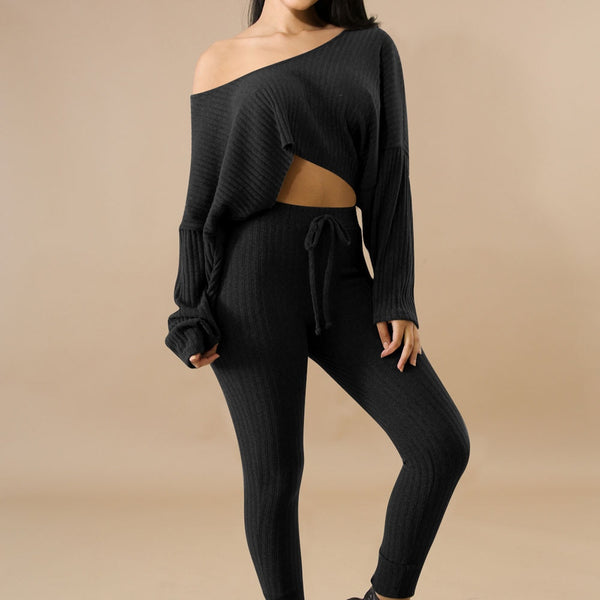 Two Piece Long Sleeve Crop Tops and Pant Set