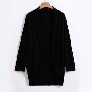Long Sleeve Open Front Pocket Loose Cardigan