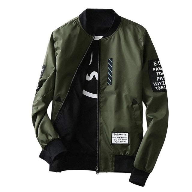 Army Green/Black Thin Slim Fit Men Wind Breaker