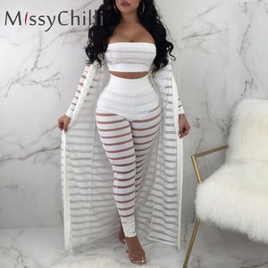 Stripe transparent white jumpsuits