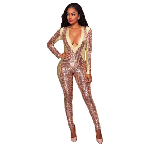 Sexy Mesh Sequined Jumpsuit