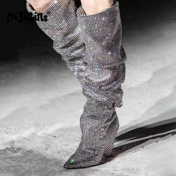 Glitter Rhinestone Embellished Slouchy Pull Knee High Boots