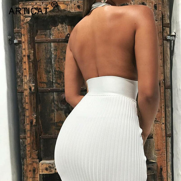 Halter Backless Sexy Knitted Pencil Dress