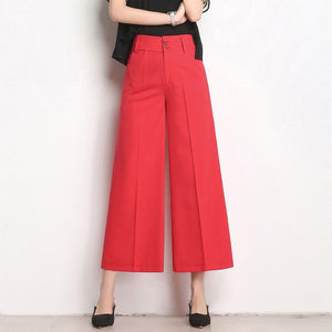 Plus Size Wide leg cropped high waist pants