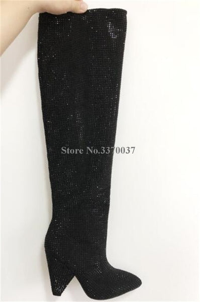 Bling Bling Pointed Toe Over Knee Boots