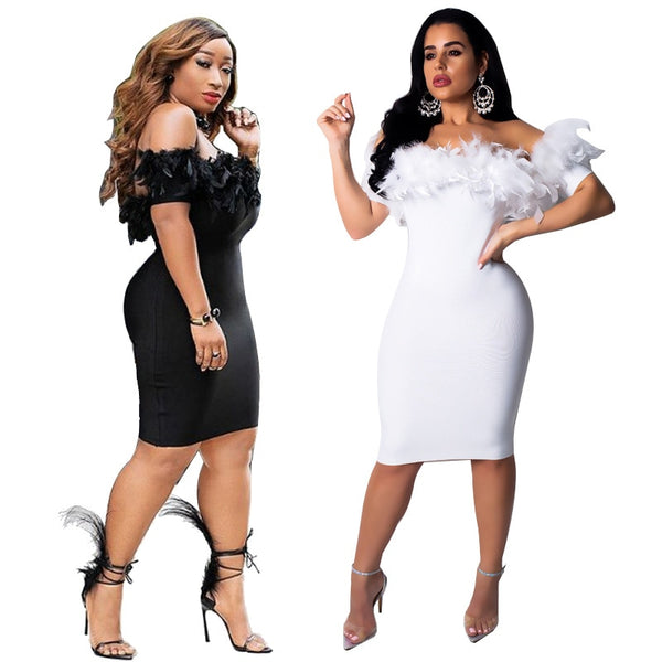 Plus Size Sexy Feather Off the Shoulder Bodycon Dress