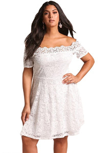 Plus Size Lace Off Shoulder Flared Dress