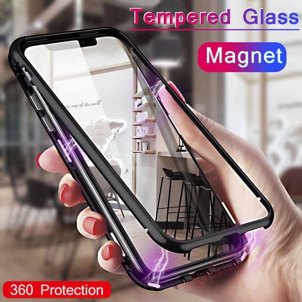Magnetic Adsorption Metal Flip Mobile Phone Cases for iPhone