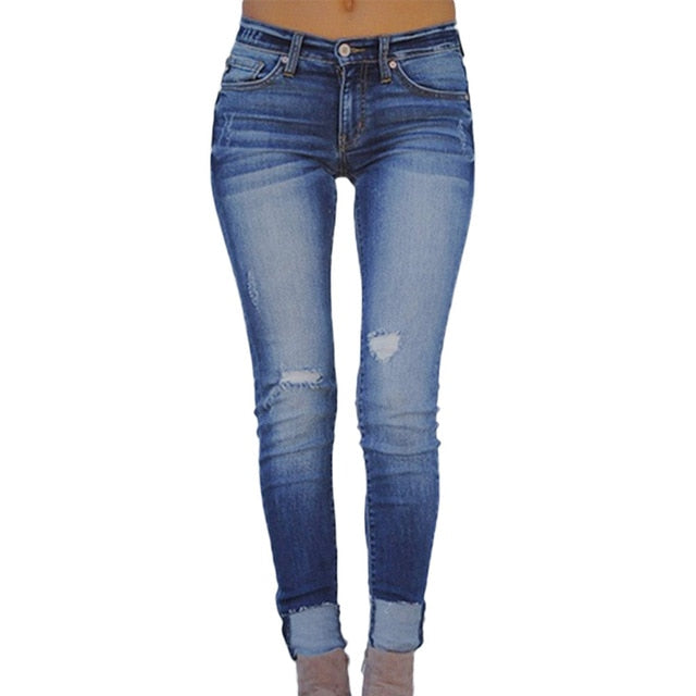 Washed Skinny Cropped Jeans