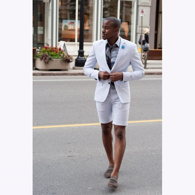 Elegant White Wedding Men Suit with Short Pants