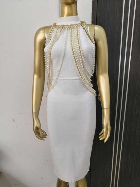 Celebrity Pearl Backless Fitted Dress