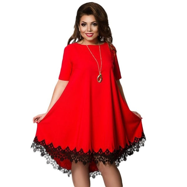 Plus Size Short Sleeve O-Neck Lace Accent Dress