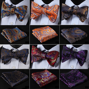 Floral 100% Silk Jacquard Woven Men Self Bow Tie  & Matching Pocket Square Handkerchief