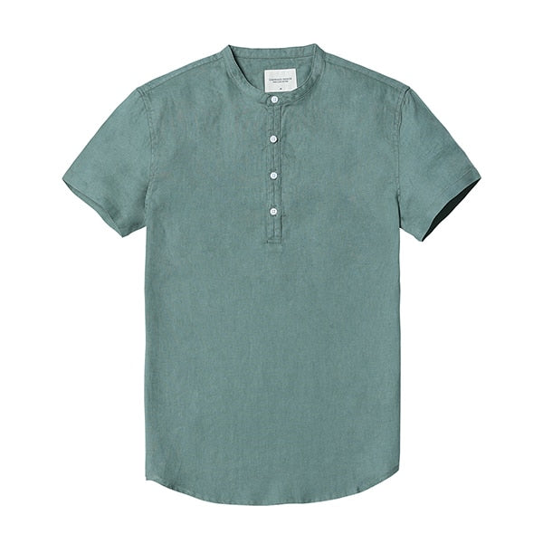 Short-sleeved 100% Linen Collarless Shirt