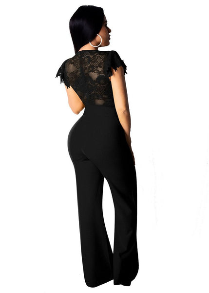 Lace Mesh Sheer Sexy V-Neck Wide Pants