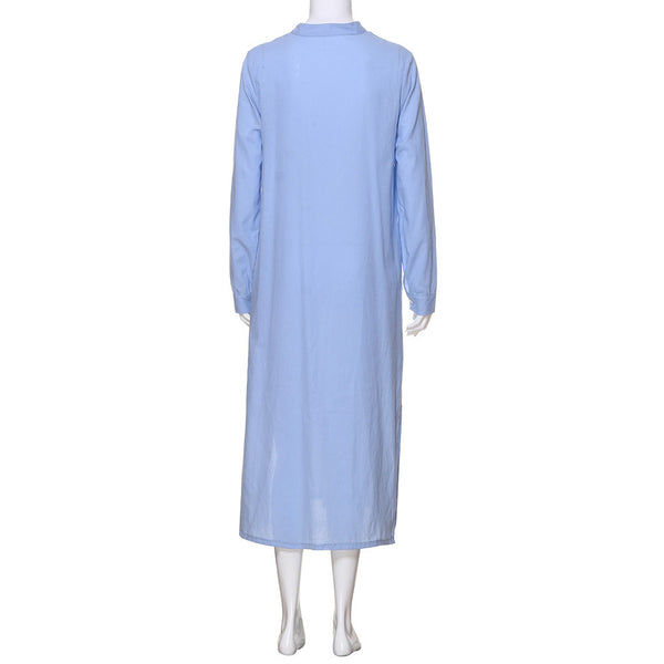 Plus Size Cotton Long Sleeve collared dress