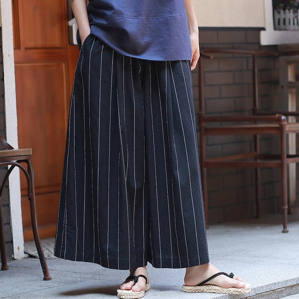 One Size Striped Wide leg Pants
