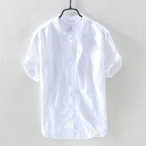 Men cotton and linen shirts with short sleeves
