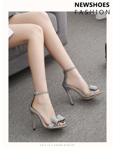 Bling Silvery Butterfly-knot High Heels