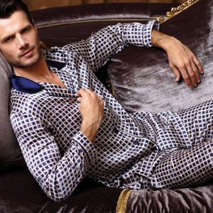 Luxury Mens Silk Satin Sleepwear Set