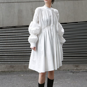 Shirt Puff Long Sleeve Asymmetrical Dress