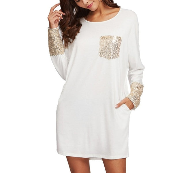 Casual Sequined Pocket Long Sleeve Dress