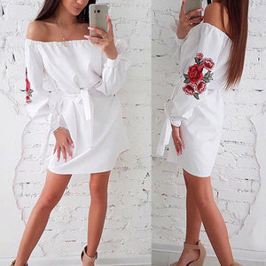 Sexy cold shoulder white dress